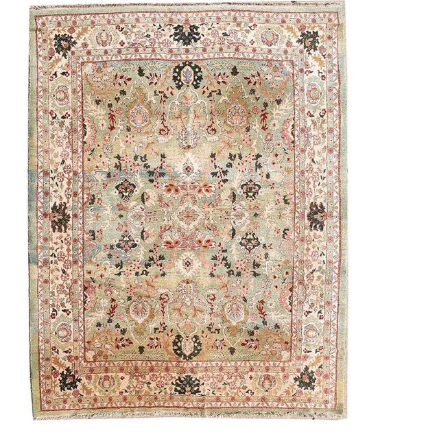 "Tan Indo Persian Tabriz 152""x219"" For Sale - Image 8 of 8"