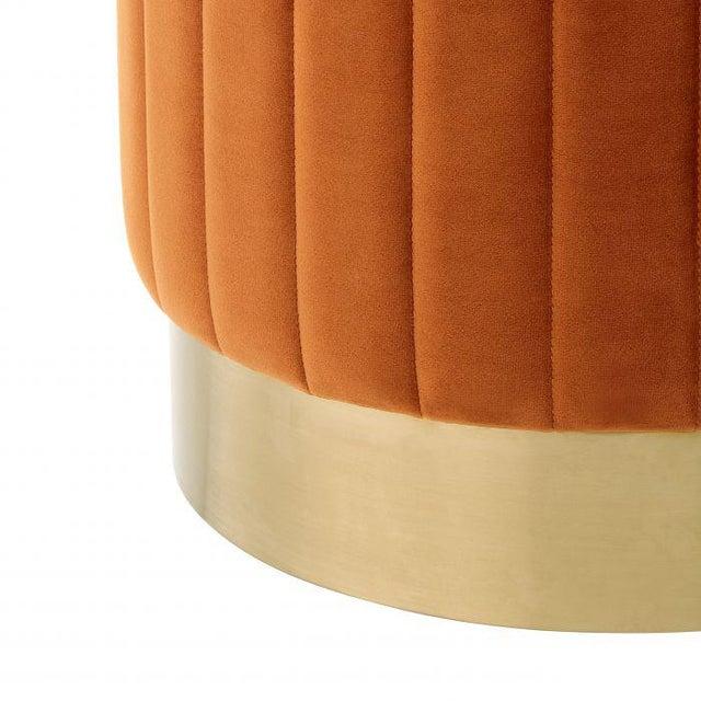 Eichholtz Allegra Orange Velvet Stool For Sale - Image 4 of 5
