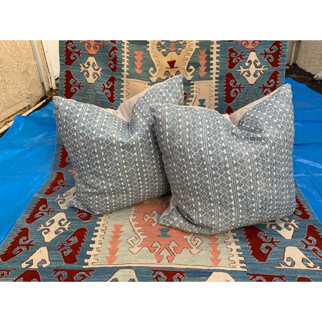 Custom made for our shop, these great looking throw pillows are fabricated with Fermoie linen fabric in a blue & beige...