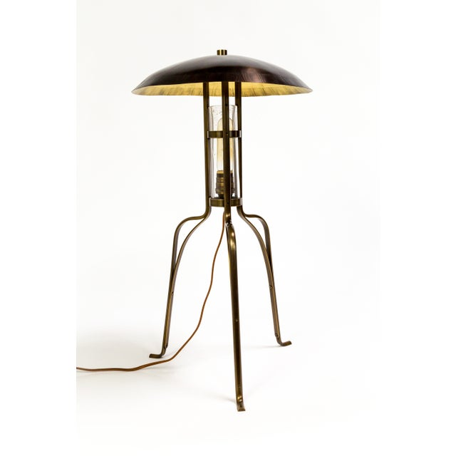 These unique Tuell & Reynolds table lamps are made with architectural bronze and hand blown seeded glass. They have a...