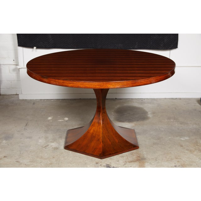 Art Deco Italian Round Pedestal Dining Table of Palisander Wood For Sale - Image 3 of 12