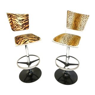 Vintage Mid Century Lucite Animal Print Bar Stools- A Pair For Sale
