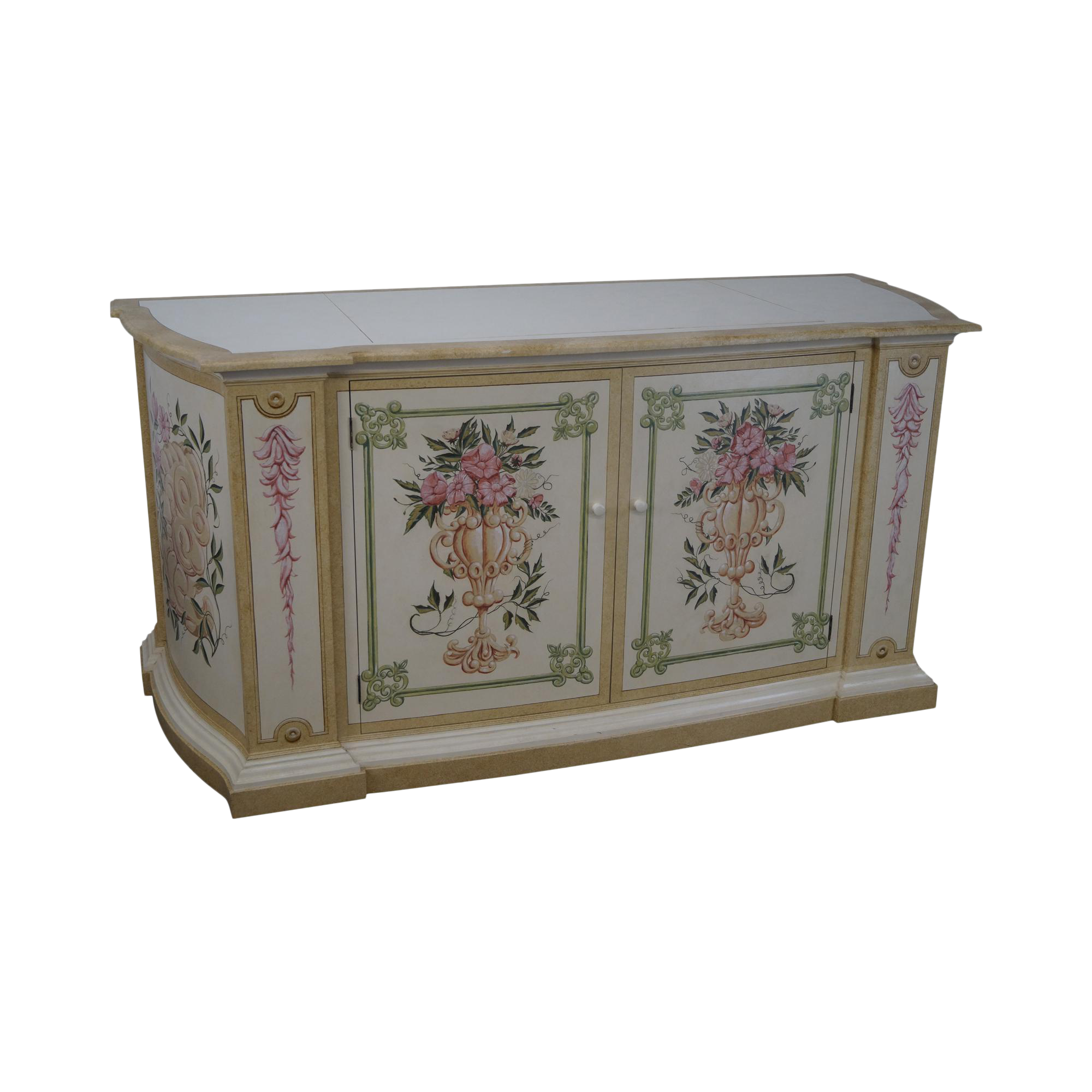 Venetian Style Hand Painted Mechanical TV Lift Cabinet