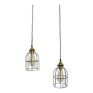 Industrial Pendant Lamps- A Pair For Sale