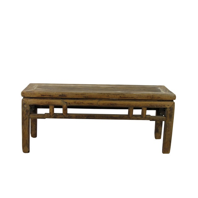 Asian Rustic Shandong Elm Bench For Sale - Image 3 of 6