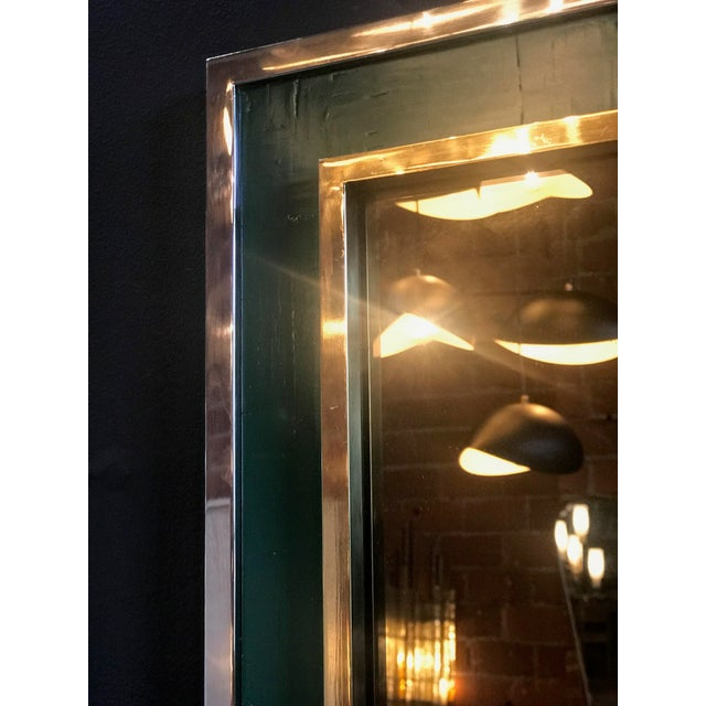 Metal Mid-Century Tommaso Barbi Green Mirror in Chrome and Brass, Italy, 1970s For Sale - Image 7 of 8