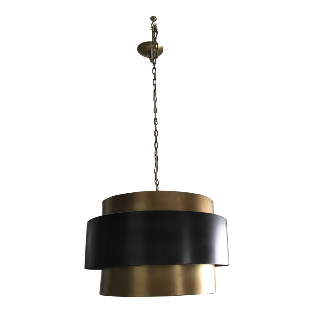 Arteriors Nolan Black Brass Pendant Light Fixture - Image 1 of 3