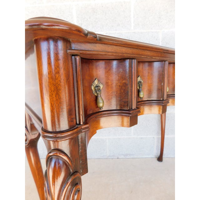 """English Traditional Kittinger Georgian Style Mahogany Console Accent Table 38.25""""w For Sale - Image 3 of 13"""