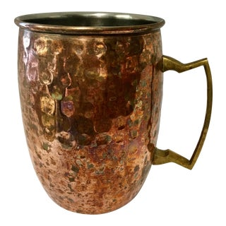 Antique 1920s Original Copper Brass Moscow Mule Hammered Mug For Sale