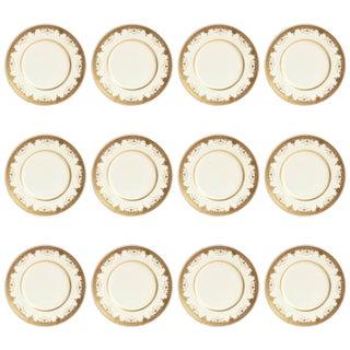 12 Antique Tiffany Dinner Plates, Heavy Gilt Encrusted Medallion Swag Design For Sale