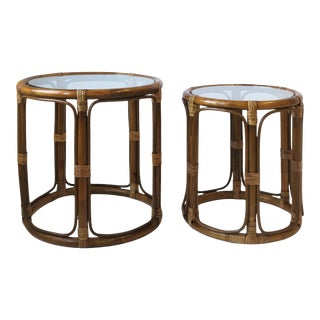 Wicker Rattan Nesting Side Cocktail Tables, Set of 2 For Sale