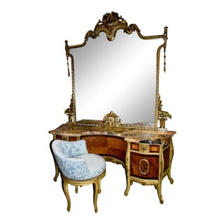 Antique French Style Inlaid Marble Top Vanity & Chair For Sale