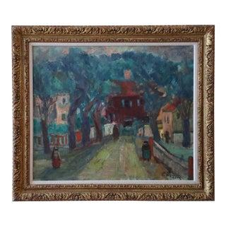 Benjamin Kopman Far Rockaway Queens Street Scene Oil on Canvas Painting, Framed For Sale