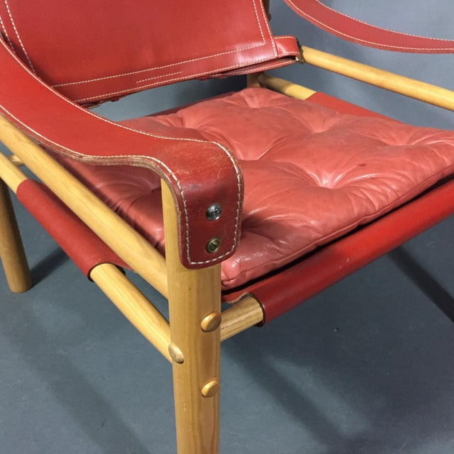 Red Pair of Arne Norell Red Leather Sirocco Chairs For Sale - Image 8 of 11