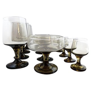Mid-Century Charcoal Amber Party Glassware - Set of 12 For Sale