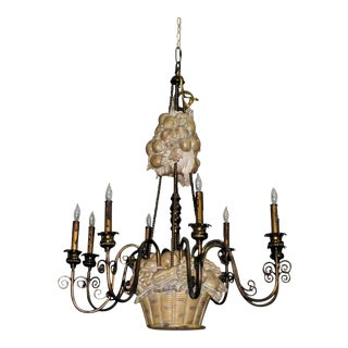 Transitional Maitland Smith 8-Light Fruit Basket Chandelier For Sale