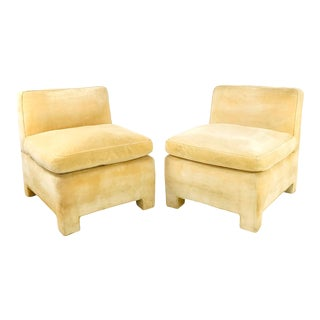 Pair of 1970s Bloomingdale's Slipper Chairs For Sale