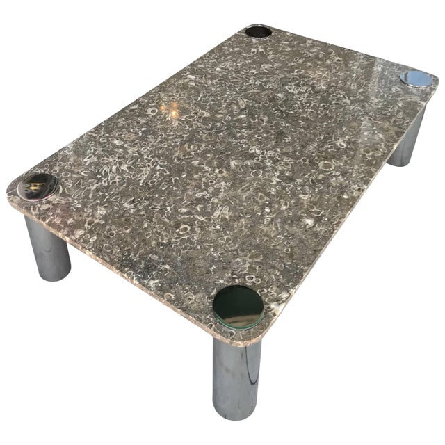 Metal Vintage Modern Stone and Chrome Coffee Table by Pace Collection For Sale - Image 7 of 7