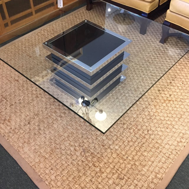 Contemporary Chrome and Glass Coffee Table - Image 7 of 8