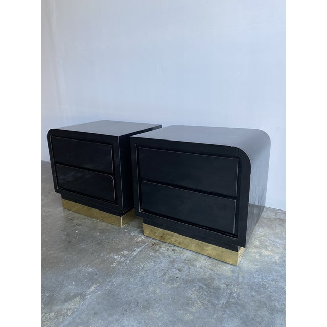 1980s Black Laqcuer and Brass Nighstands-a Pair For Sale In Los Angeles - Image 6 of 12
