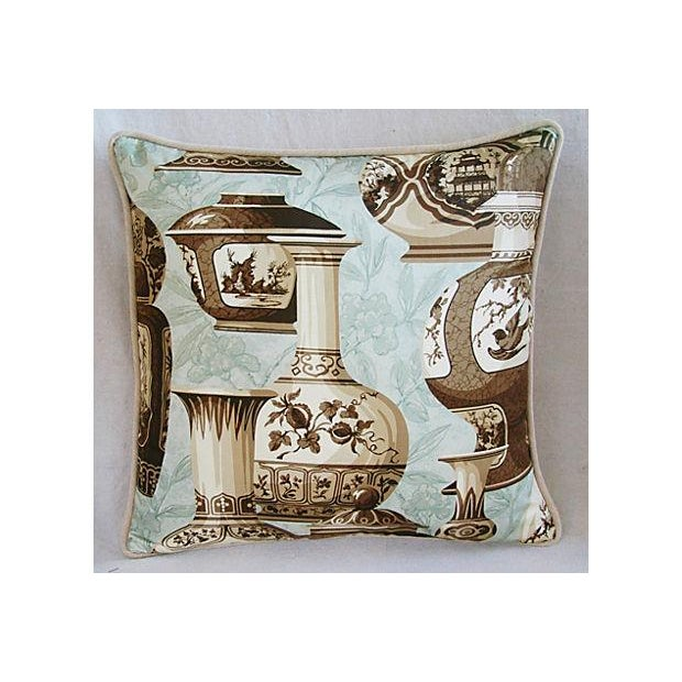 Brown Custom Braemore Chinoiserie Vase Pillows - A Pair For Sale - Image 8 of 10