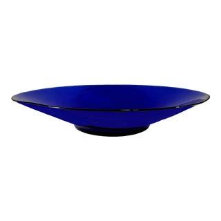 Late 20th Century Vintage Cobalt Blue Deep Platter For Sale