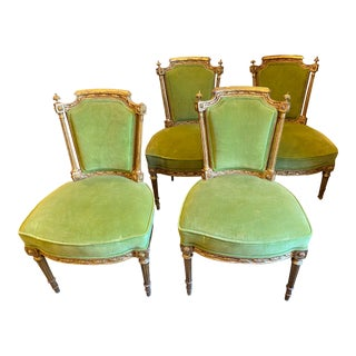 Gold Gilt Green French Chairs - Set of 4 For Sale