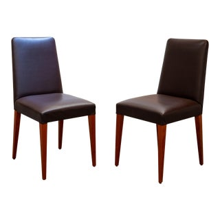 """Alta"" Leather Classic Chairs- a Pair For Sale"