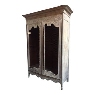 19th C. French Carved and Painted Cabinet For Sale