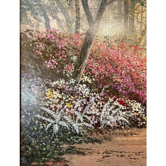 Pink Juan Archuleta Gates and Garden Painting For Sale - Image 8 of 13