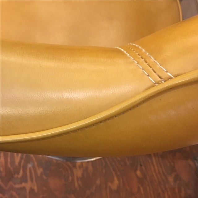 Harvest Gold Leather & Chrome Chairs - A Pair - Image 9 of 9