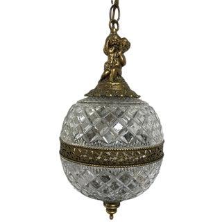 Vintage Golden Brass & Glass Hanging Cherub Swag Lamp