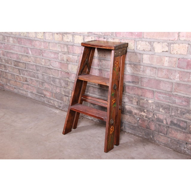 Vintage Hand-Painted Wooden Step Ladder For Sale - Image 9 of 10