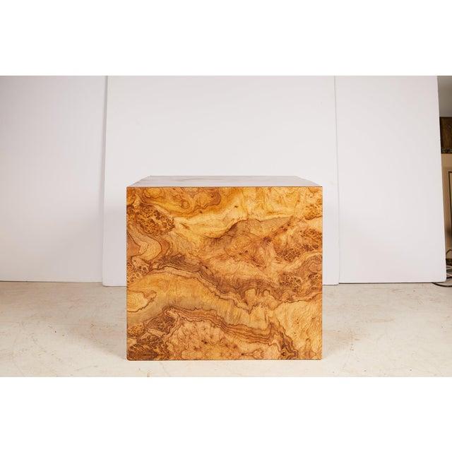 Midcentury Burled Wood Laminate Cube For Sale - Image 12 of 13
