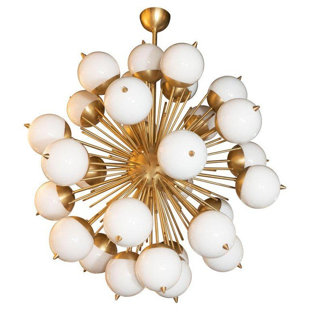 Modernist Hand Blown Murano Frosted Glass and Brushed Brass Sputnik Chandelier For Sale - Image 9 of 9