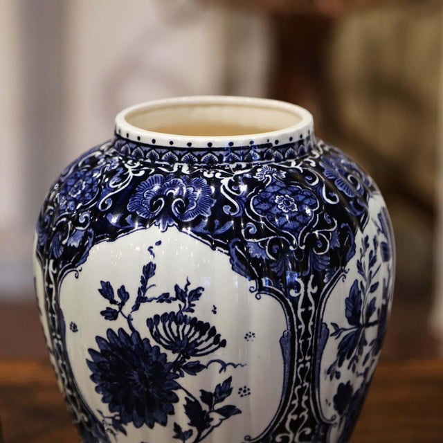 Ceramic Mid-Century Dutch Faience Blue and White Painted Delft Ginger Jar With Lid For Sale - Image 7 of 10