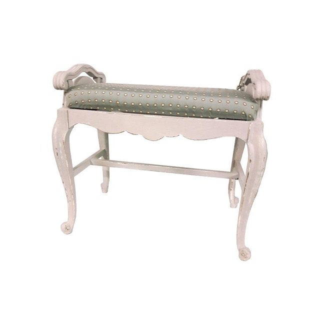 French Carved Upholstered Vanity Bench For Sale - Image 4 of 6