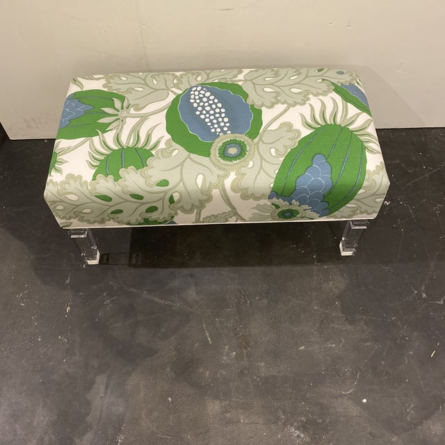 Green Custom Bench With Lucite Legs For Sale - Image 8 of 11