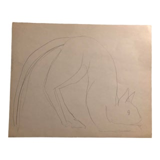 Pouncing Cat Drawing by James Bone 1970s For Sale