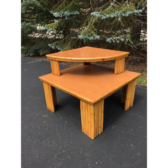 """Two tier 1950s rattan side/ corner table . Second removable shelf measures 24""""x 24"""" x 24"""". Laminate top, overall, good..."""