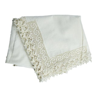 Small Vintage Crochet Trim Tablecloth For Sale