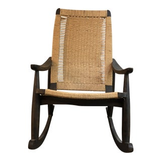Vintage Mid Century Style Carved Wood Rocking Chair For Sale