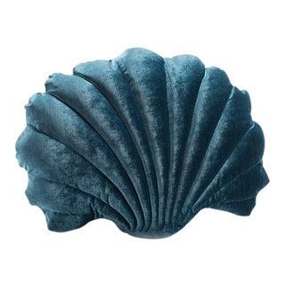 Large Shell Pillow - Teal Velvet