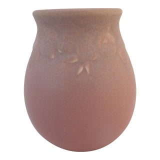 Rookwood Rose Pink Arts & Crafts Fruit Garland 1921 Vase 2122 For Sale