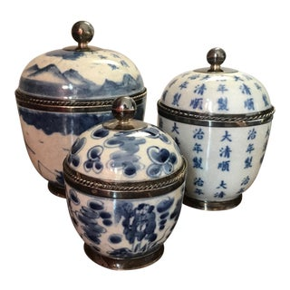 Chinoiserie Porcelain and Silver Ginger Jars - Set of 3 For Sale