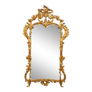 19th Century Gilt Mirror Wall or Console Mirror, French Finely Carved For Sale