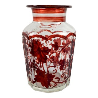 Antique Ruby Red on Crystal Jar For Sale