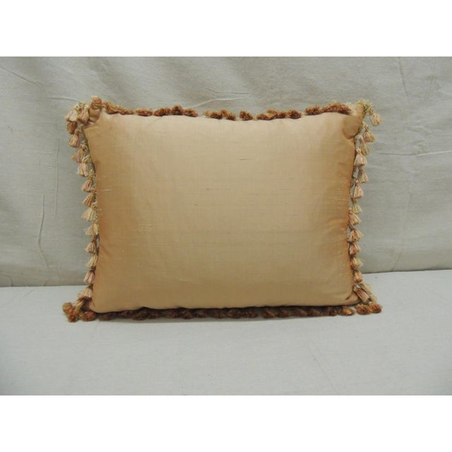 Silk Antique Aubusson Center Tapestry Decorative Pillow For Sale - Image 7 of 9