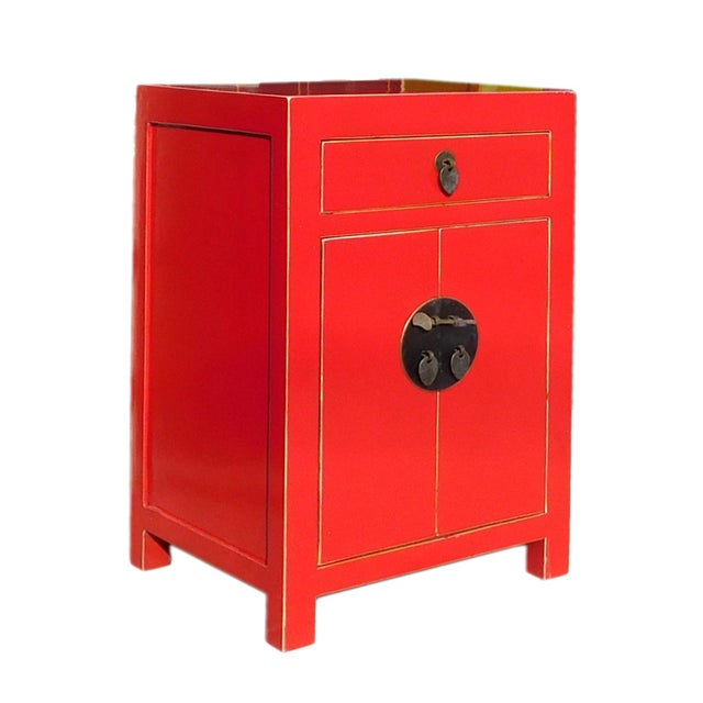 Chinese Red Round Moon Face Cabinet Side Table - Image 2 of 5