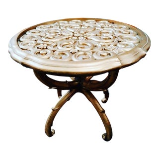 Vintage Syroco Hollywood Regency Gold Detailed Round MCM Side Table For Sale